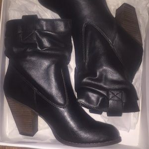 Black Heeled Booties by Bakers Size 7.5